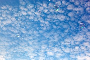 Soap bubbles flying in the air