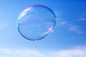 One soap bubble flying in the air