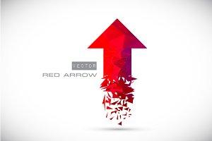 Polygonal red arrow up