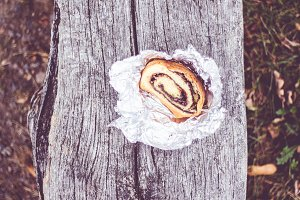 Slices of brioche on a wooden bench