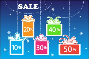 Christmas sale vector backgrounds