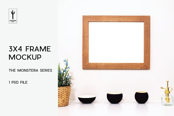 3x4 Frame Mockup - Monstera