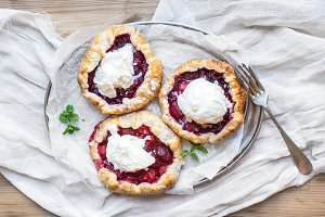 Rustic galette pies with berries