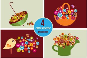 Cute vector spring cards, vector