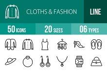 50 Clothes & Fashion Line Icons
