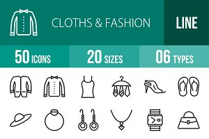 50 Clothes & Fashion Line Icons