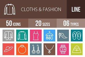 50 Clothes & Fashion Line Multicolor