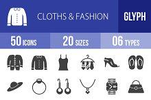 50 Clothes & Fashion Glyph Icons