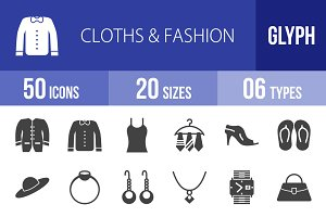 50 Clothes & Fashion Glyph Icons