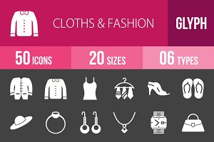 50 Clothes & Fashion Glyph Inverted
