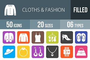50 Clothes&Fashion Flat Round Corner