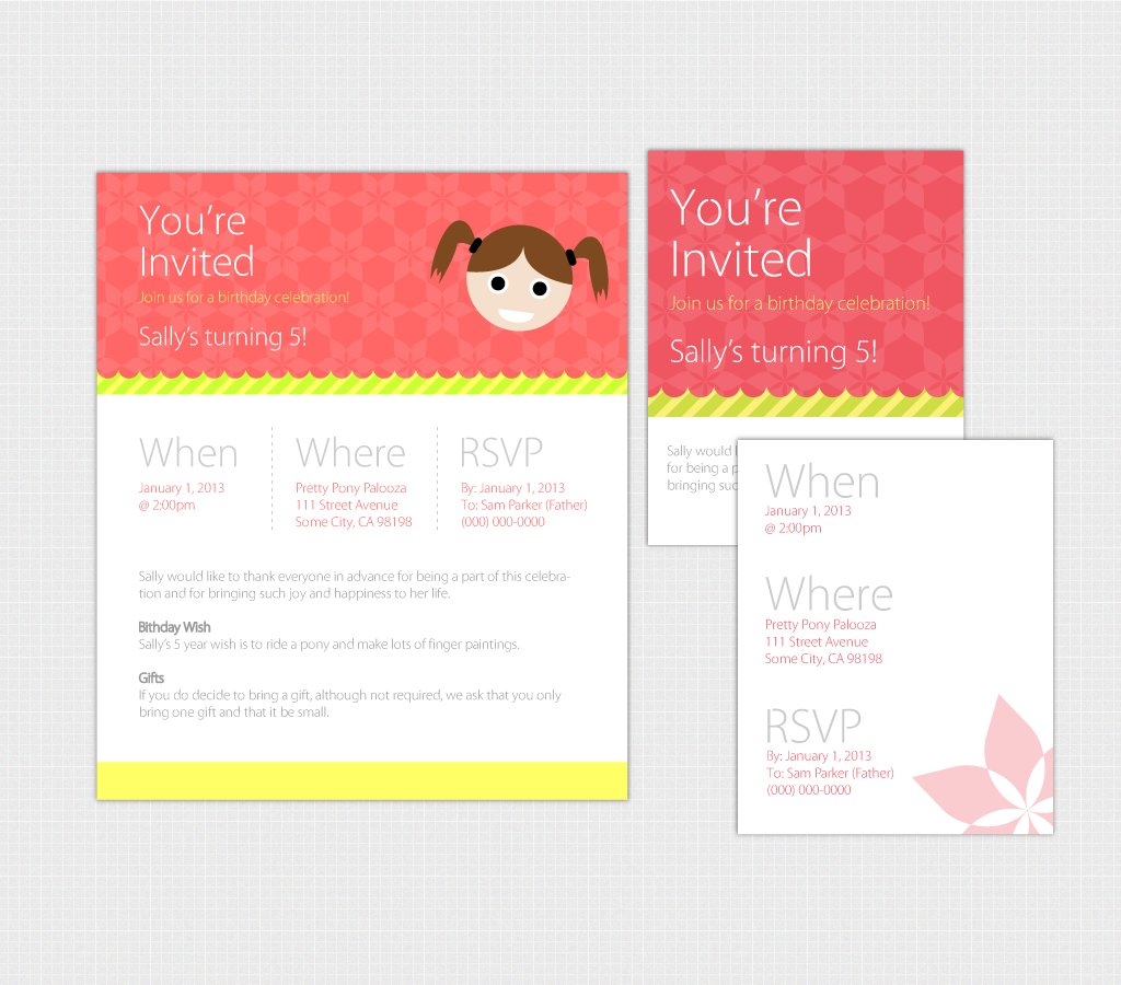Birthday Invite Pack for Web & Print ~ Invitation Templates ...