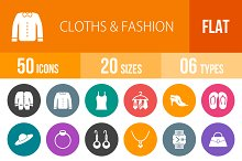 50 Clothes&Fashion Flat Round Icons