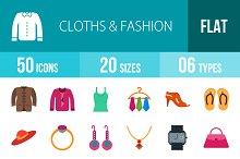50 Clothes & Fashion Flat Multicolor