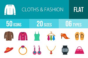 50 Clothes & Fashion Flat Multicolor