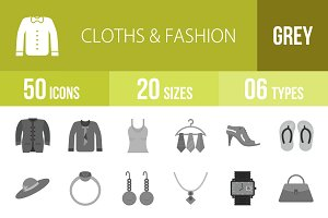 50 Clothes & Fashion Greyscale Icons