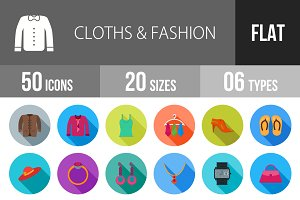 50 Clothes & Fashion Flat Shadowed