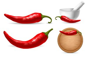 Red chili pepper set