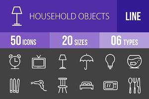 50 Household Objects Line Inverted
