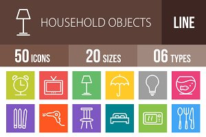 50 Household Objects Line Multicolor