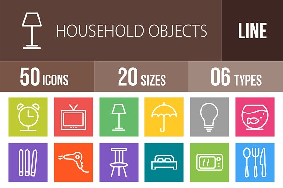 50 Household Objects Line Multicolor in Graphics
