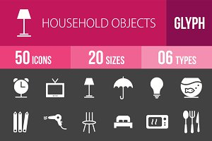 50 Household Objects Glyph Inverted