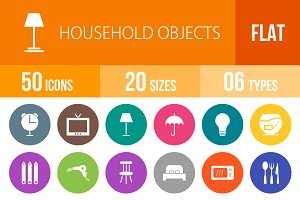 50 Household Objects Flat Round