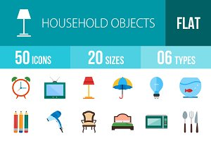 50 Household Objects Flat Multicolor
