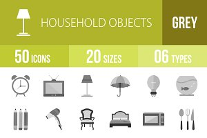 50 Household Objects Greyscale Icons