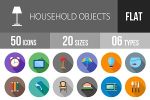 50 Household Objects Flat Shadowed
