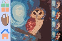 Owl painting in styles