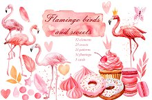 Flamingo birds and sweets