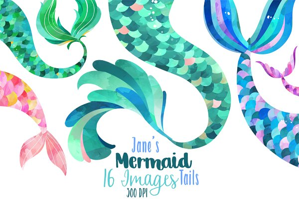 Watercolor Mermaid Tails Clipart Pre Designed Photoshop Graphics Creative Market Clipart downloadable mermaid png stock tail. watercolor mermaid tails clipart