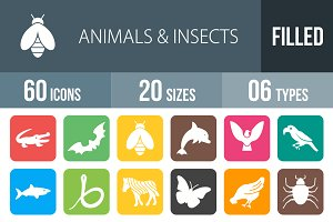 60 Animals & Insects Round Corner