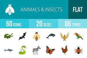 60 Animals & Insects Flat Multicolor