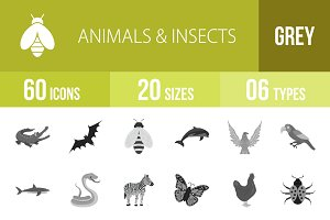 60 Animals & Insects Greyscale Icons