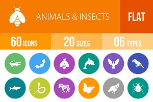 60 Animals&Insects Flat Round Icons
