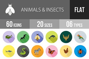 60 Animals & Insects Flat Shadowed