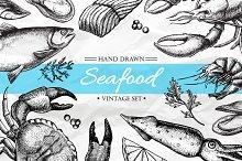 Seafood. Hand Drawn Vintage Set