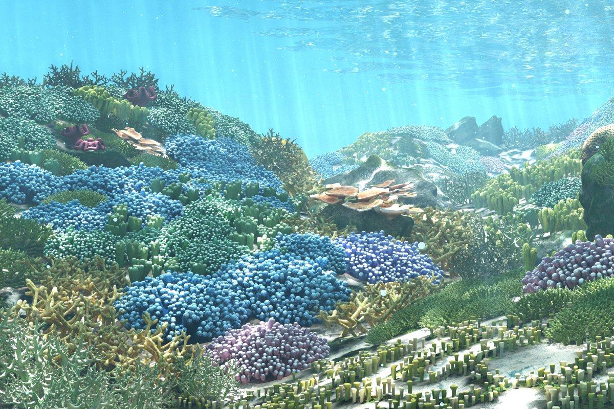 3D Cartoon Underwater Coral Reef Hab