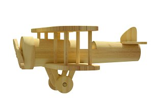 Wooden 3d airplane