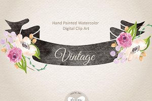 Watercolor banner vintage clipart