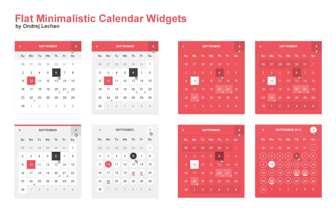 Calendar Design For Website : Flat minimalistic calendar widgets web elements