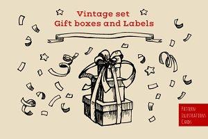 Set of Gift boxes & Labels. Vintage