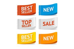 Fabric Clothing Sale Labels. Vector