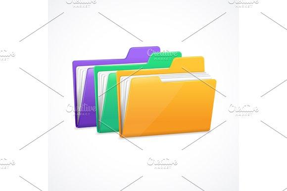 File Folders Set. Vector - Objects