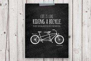 Tandem bicycle quote Einstein art