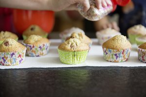 homemade muffins with colored crumples