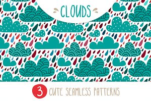 CLOUDS - set of 3 seamless patterns