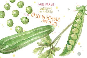 Watercolor vegetables and fruits
